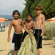 Boys with Tule Boat photo